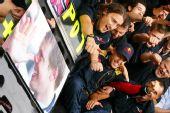 图文:F1意大利大奖赛正赛 为维特尔庆祝
