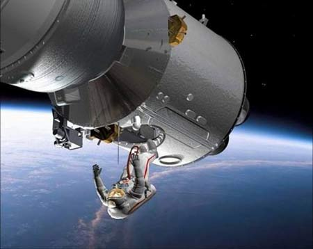 中国航天员出太空舱活动模拟图