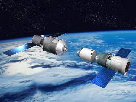 中国航天器太空对接效果图