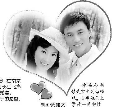 仲满和新娘武宗文的结婚照。当年他们上学时一见钟情