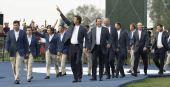 图文:美国队捧莱德杯冠军 欧美一同出席颁奖礼
