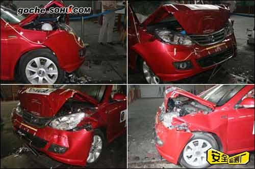 不同角度拍摄的车身发动机舱碰撞情况