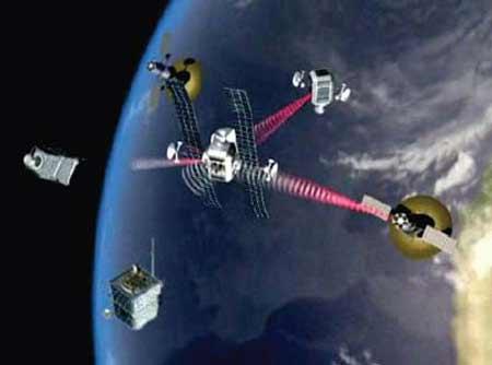 空间站与伴飞卫星模拟图[资料图片]