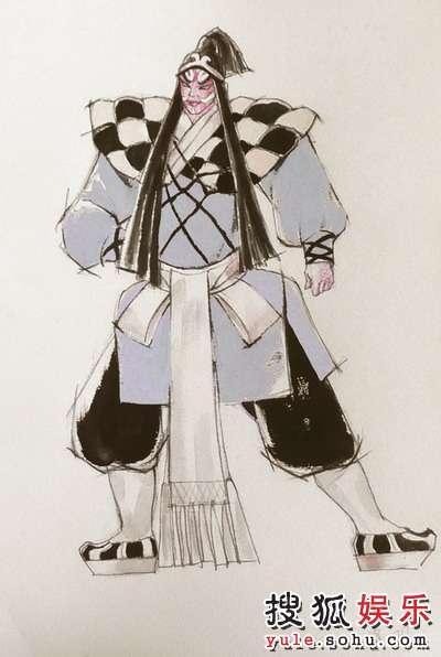 大都版《西厢记》手绘服装图 围寺.二楔惠明