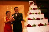 图文:刘炜王卫婷上海完婚 刘炜夫妇切蛋糕
