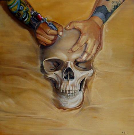 """9月 参展 """"当艺术遇到摇滚乐""""展览   2008年  9月 邀担任2008年纹身"""
