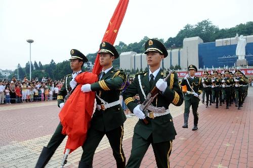 福州/我爱五星红旗 10月1日,升国旗仪式在福州五一广场举行。