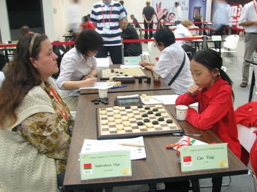 图文:智运会国际跳棋比赛 女子比赛现场