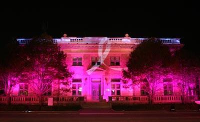 渲染粉红色灯光的前门23号街