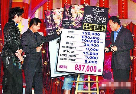 周董(左起)、杨峻荣、Sony BMG大中华区总裁崔震东宣布亚洲出货破88万张