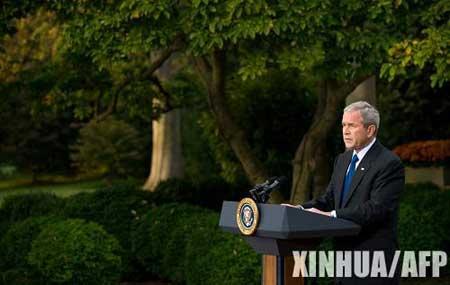 10月14日,美国总统布什在华盛顿白宫发表讲话。布什当天表示将推出具体的救市措施,其中包括动用救援资金购买银行股份。新华社/法新