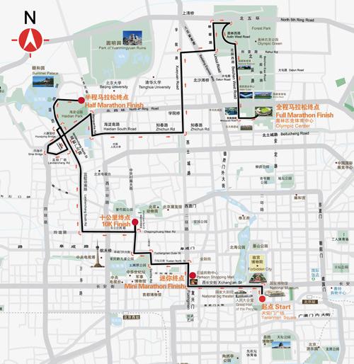 2008北京马拉松线路说明 比赛线路图图片