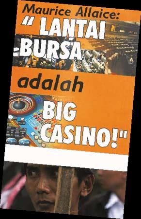 """10月16日,印尼反资本主义者打出了""""股市其实是大型赌博""""的标语"""
