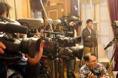 图文:农心杯柁嘉熹战山下 众多记者到场报道