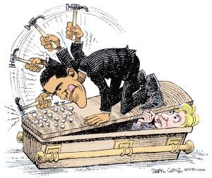 """民主党内争夺激烈,奥巴马正奋力将希拉里钉进""""坟墓""""。msn.com"""