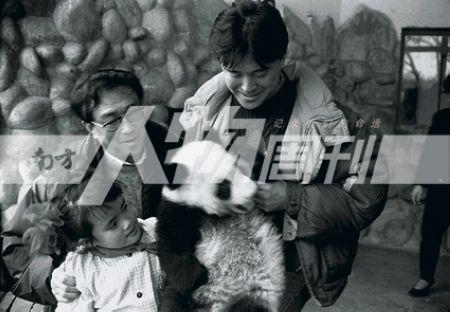 1992年3月5日,谢晋(左)与儿子谢衍合作拍摄故事片《熊猫吉米》时,在成都大熊猫繁育基地挑选熊猫演员