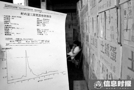 在增槎路的鸡蛋批发市场,很多档口都能提供关于三聚氰胺的检验报告。信息时报记者 陈文杰 摄