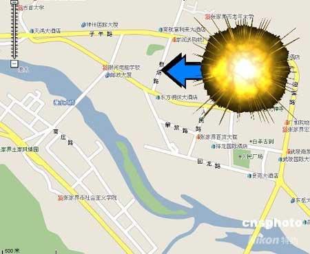 图表:湖南张家界政府办公楼发生爆炸多人受伤示意图