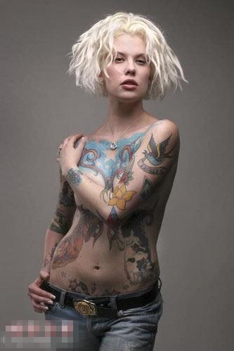 美女纹身图片大全; 美国男女街头血腥纹身;