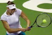 图文:WTA总决赛扬科不敌兹娃 兹娃反手回球