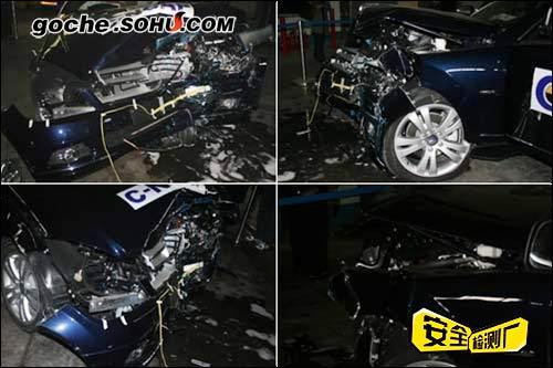 碰撞后,车辆前机舱部位的溃缩变形情况