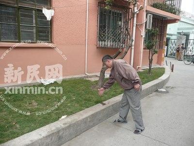 事故现场:楼下草坪