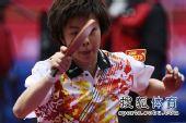 图文:女团1/8决赛北京完胜 张怡宁拍后的双眸