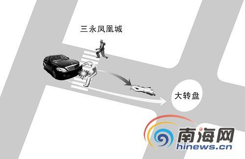 """黑色轿车撞""""飞""""行人40米 车速太快看不清车牌号"""