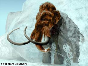"""这幅模拟图展现的是通过基因重组有望""""复制""""史前猛犸象,它将从永久冰冻层中清晰浮现出来。"""
