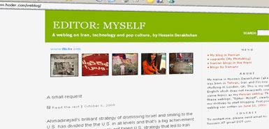 """伊朗最杰出的博客写手、被称为""""博客之父""""的侯赛因-德拉克斯汗的博客。"""