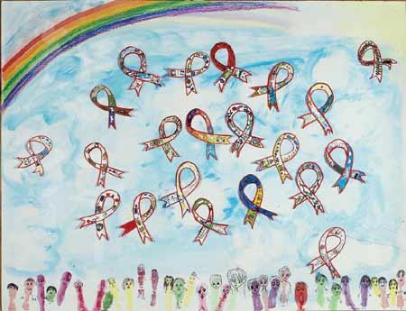 受艾滋影响儿童画展-彩带图片