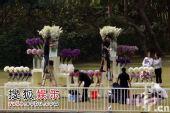 独家:紫白鲜花装点婚礼现场 浪漫花海迎新人