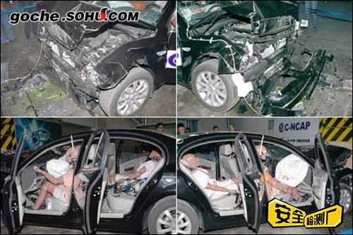 碰撞后车身状态,四门可以正常打开