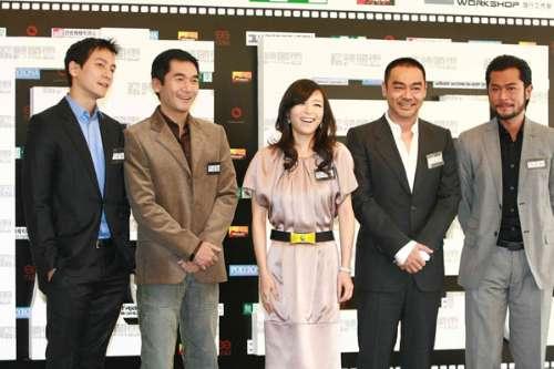 吴彦祖(左起)、方中信、张静初、刘青云和古仔齐出席新片开镜记者会