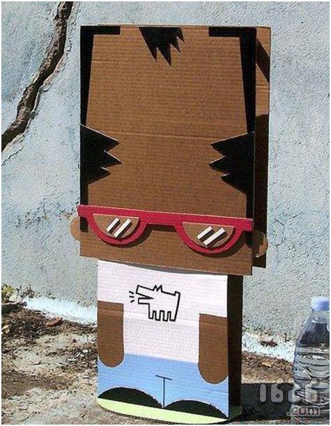 废纸箱制作的表情人偶;; 手工制作图片纸工:可爱小公仔14; 纸艺diy