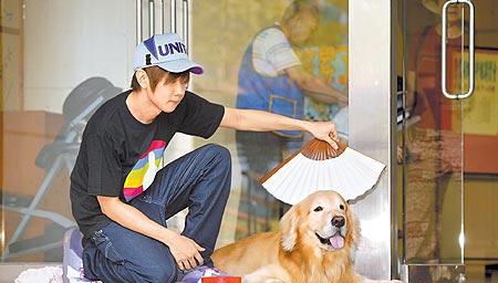 MOMO怕热,他还得当狗奴才为它搧风。