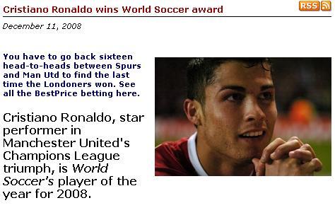 c罗 金球/《世界足球》网站截屏