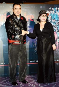 陈凯歌(左)来台宣传新片《梅兰芳》,昨晚与陈文茜进行深度对谈。