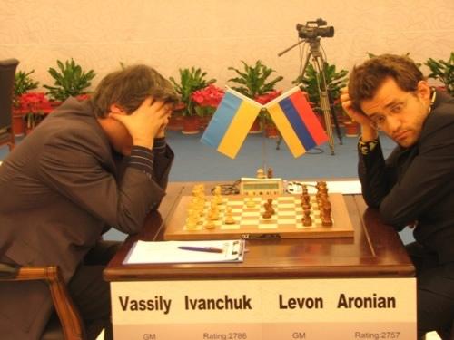 图为:国象大师超级赛第7轮 伊万丘克VS阿罗尼扬