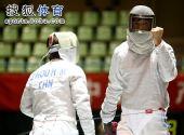 图文:全锦赛男佩团体决赛 得分挥拳自我激励