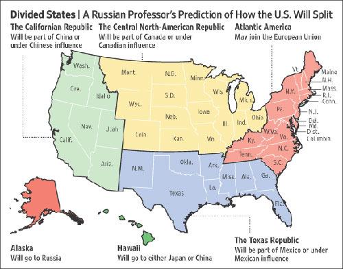 帕纳林预测,美国将于2010年爆发新内战,最终将导致美国一分为六