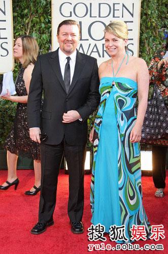 图:金球奖红毯:演员里里奇-格威斯携妻子亮相