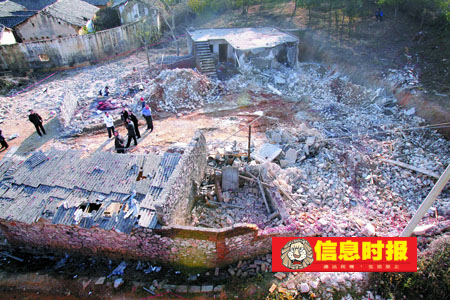 社会2 鞭炮作坊基本被炸平。信息时报记者 黄立科 摄