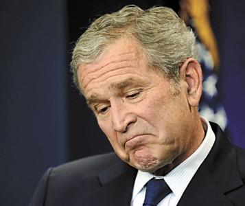 布什在新闻发布会上表情多变
