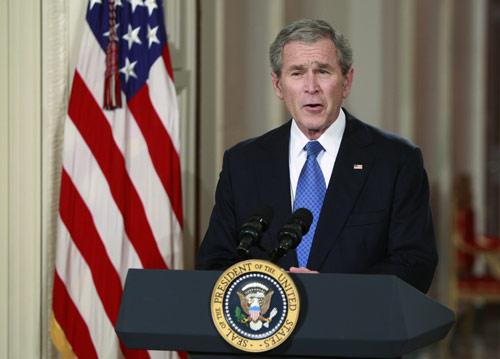 布什告别演说现场图