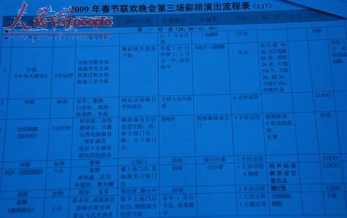 2009年春晚第三次彩排节目流程表(部分)[人民网记者文松辉摄影]
