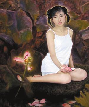 李壮平父女的作品《莲荷》。
