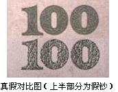 伪造光变油墨面额数字一种是普通单色(100元假钞为绿色)胶印,质量较差,无真钞特有的颜色变换特征,用手指触及其表面时无凹凸触感。
