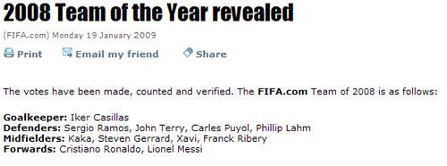 FIFA评出2008年最佳11人
