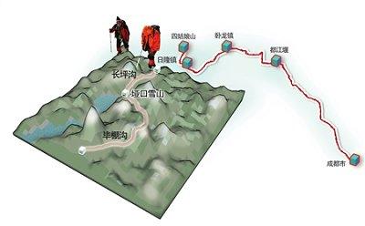 失踪驴友徒步穿越示意图。制图 杨仕成